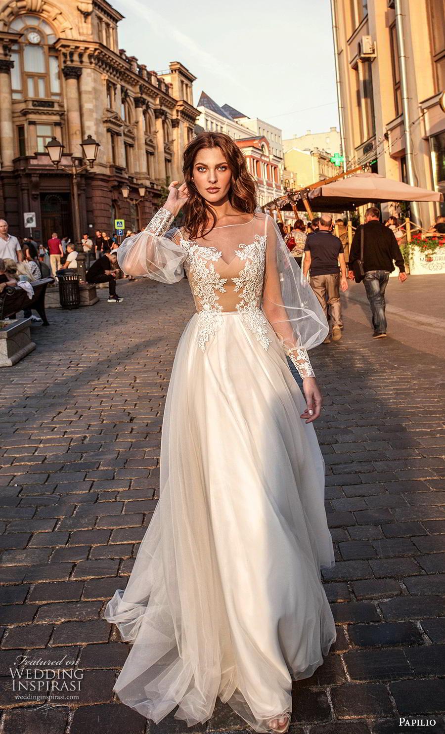 papilio 2019 bridal long bishop sleeves illusion bateau sweetheart neckline heavily embellished bodice soft a  line wedding dress lace back chapel train (6) mv