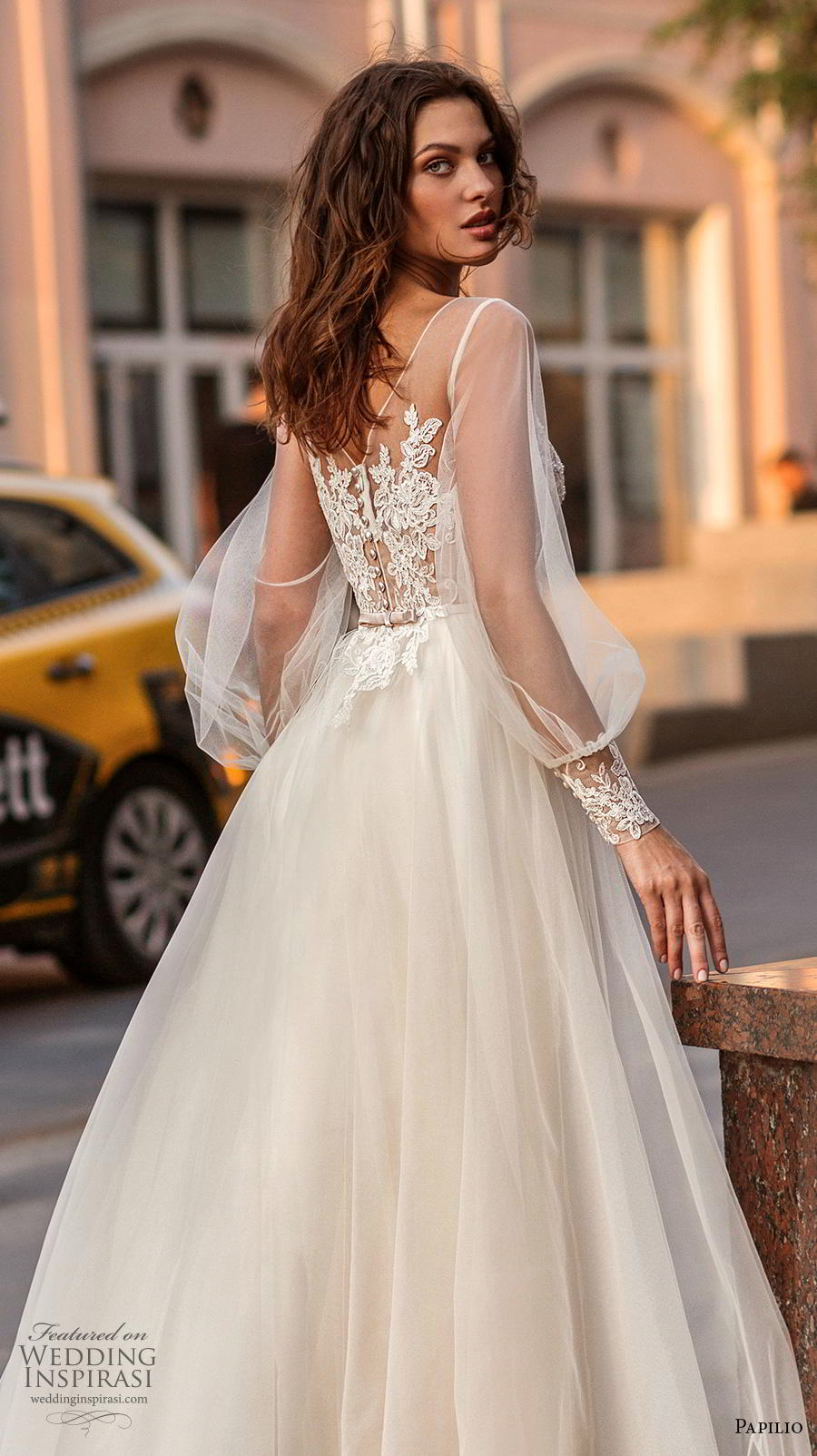 papilio 2019 bridal long bishop sleeves illusion bateau sweetheart neckline heavily embellished bodice soft a  line wedding dress lace back chapel train (6) zbv