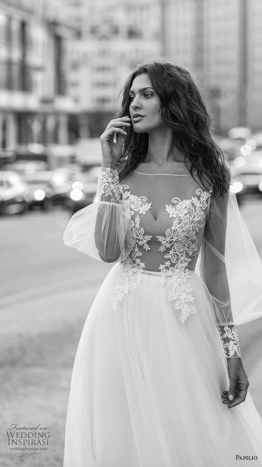 papilio 2019 bridal long bishop sleeves illusion bateau sweetheart neckline heavily embellished bodice soft a  line wedding dress lace back chapel train (6) zv