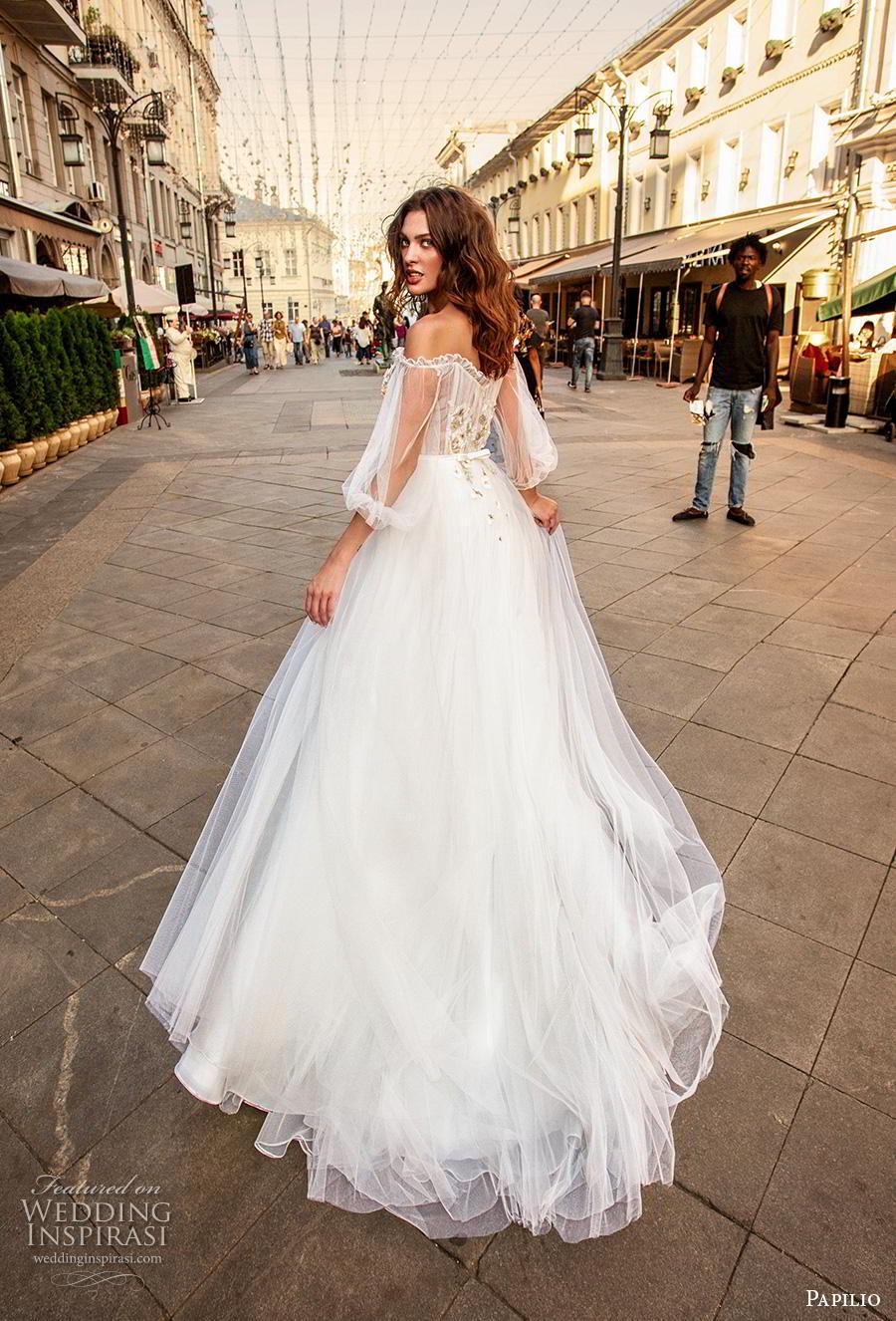 papilio 2019 bridal long bishop sleeves off the shoulder scoop neckline lightly embellished bodice romantic a  line wedding dress mid back chapel train (8) bv