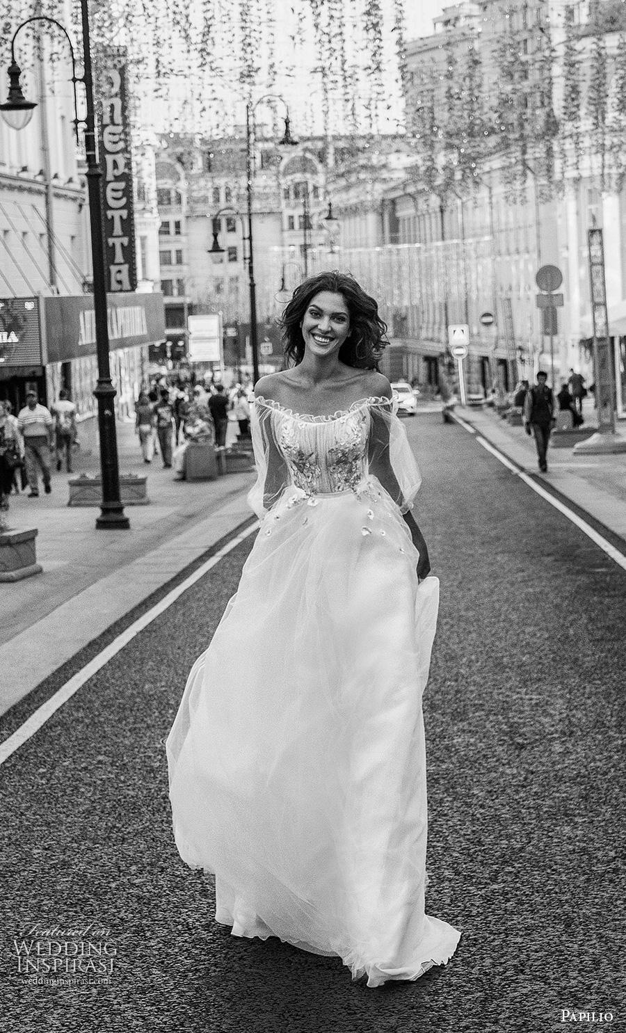 papilio 2019 bridal long bishop sleeves off the shoulder scoop neckline lightly embellished bodice romantic a  line wedding dress mid back chapel train (8) mv