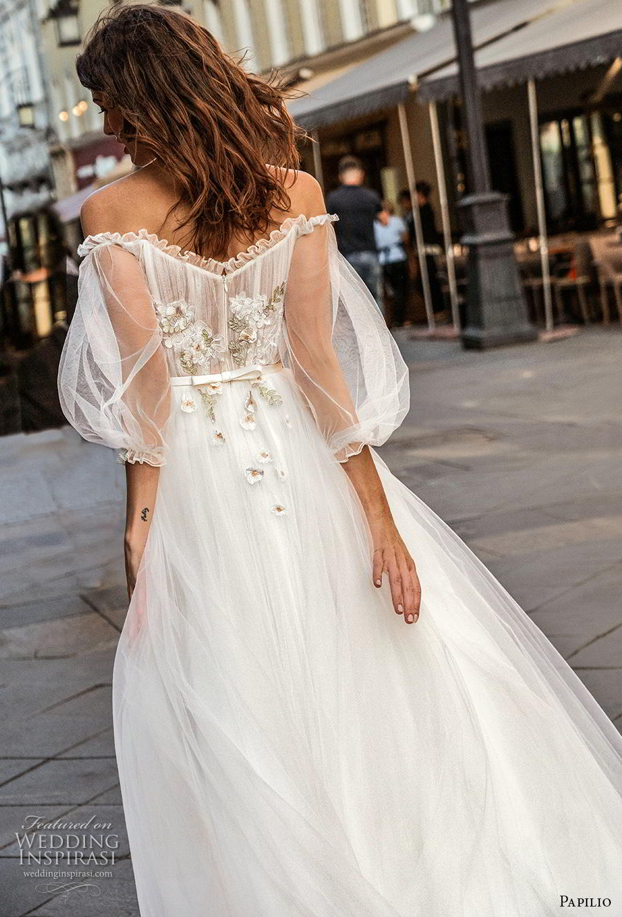 papilio 2019 bridal long bishop sleeves off the shoulder scoop neckline lightly embellished bodice romantic a  line wedding dress mid back chapel train (8) zbv