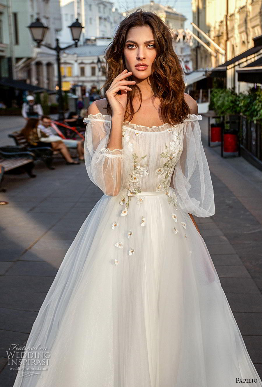 papilio 2019 bridal long bishop sleeves off the shoulder scoop neckline lightly embellished bodice romantic a  line wedding dress mid back chapel train (8) zv