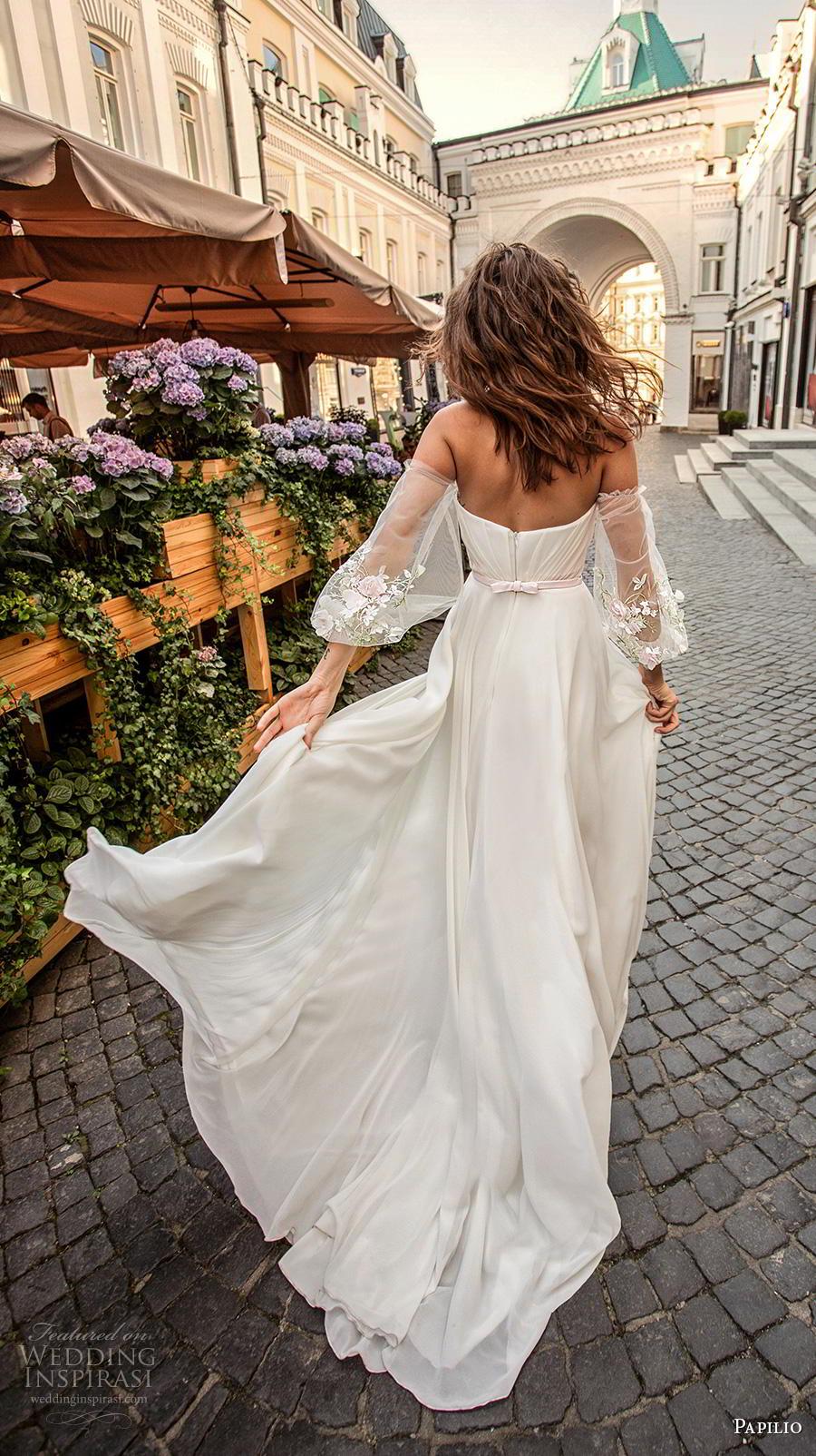 papilio 2019 bridal long bishop sleeves off the shoulder sweetheart neckline wrap over ruched bodice slit skirt romantic a  line wedding dress medium train (1) bv