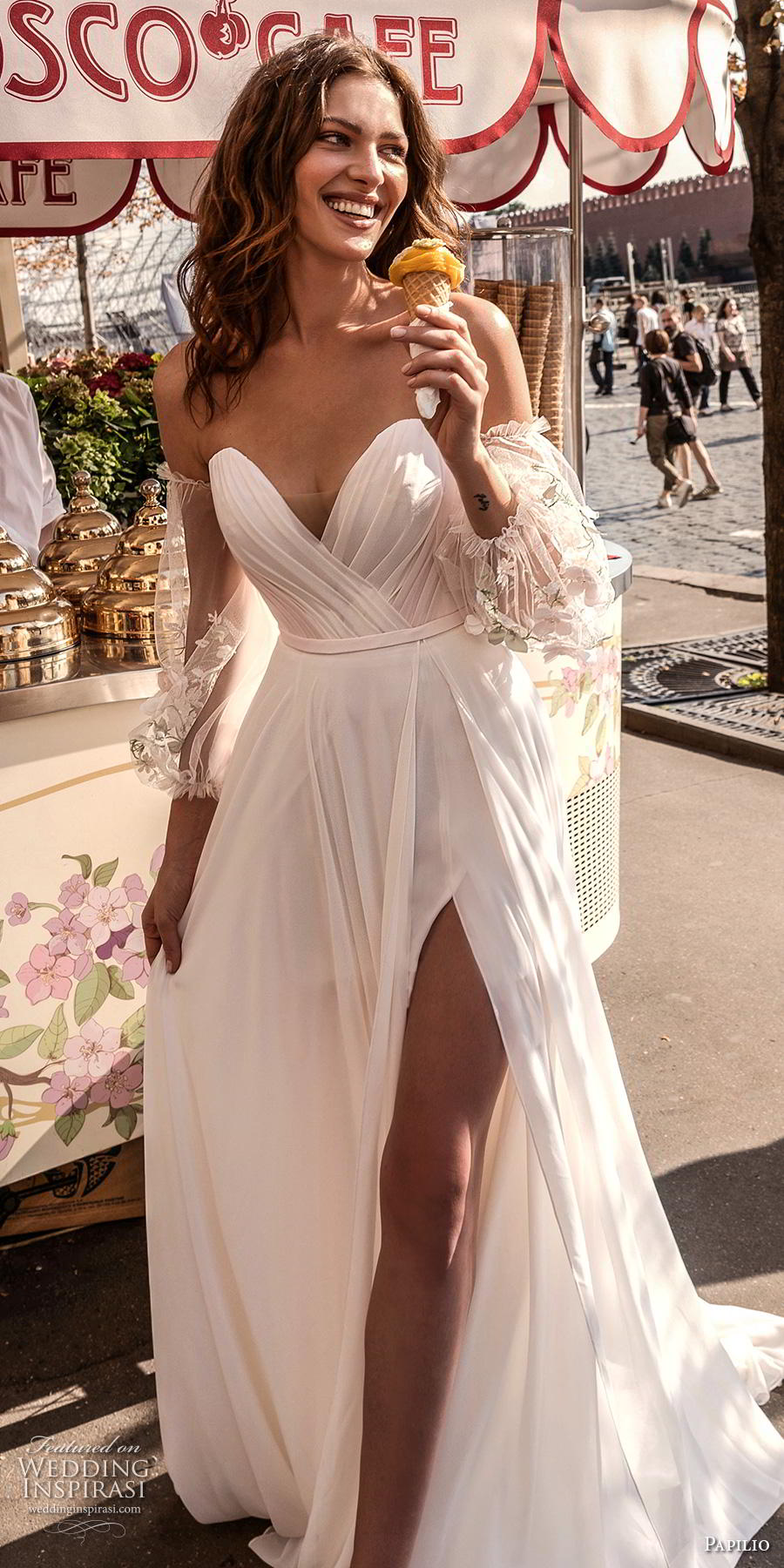 papilio 2019 bridal long bishop sleeves off the shoulder sweetheart neckline wrap over ruched bodice slit skirt romantic a  line wedding dress medium train (1) lv