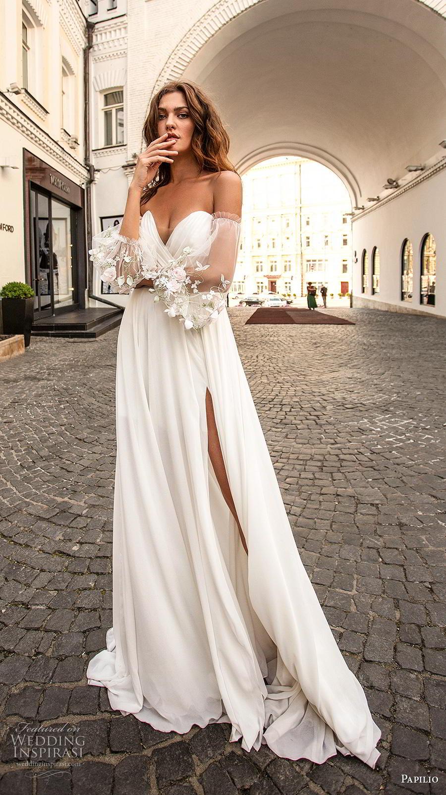 papilio 2019 bridal long bishop sleeves off the shoulder sweetheart neckline wrap over ruched bodice slit skirt romantic a  line wedding dress medium train (1) mv