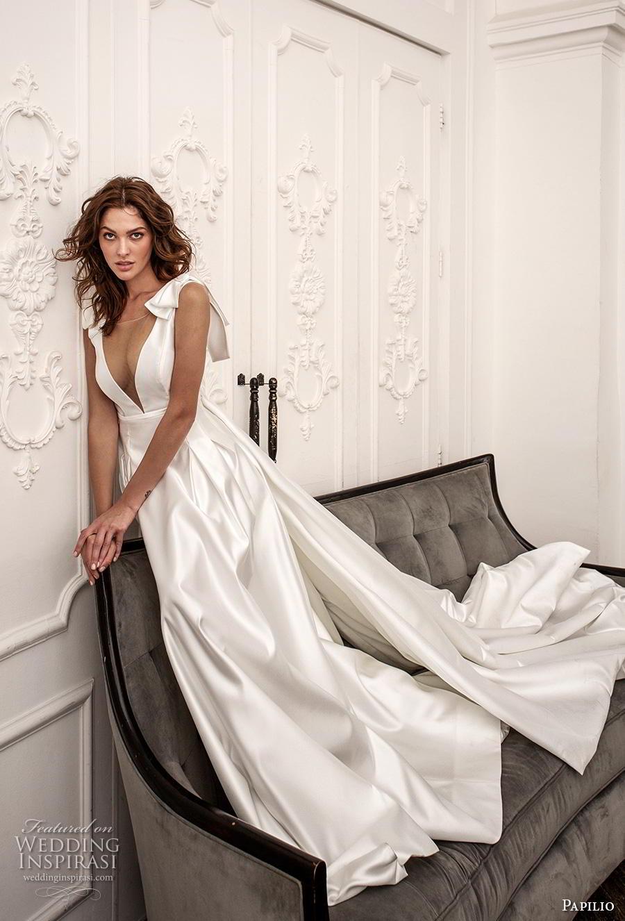 papilio 2019 bridal ribbon strap illusion bateau deep v neck simple minmalist elegant a  line wedding dress v back chapel train (8) mv