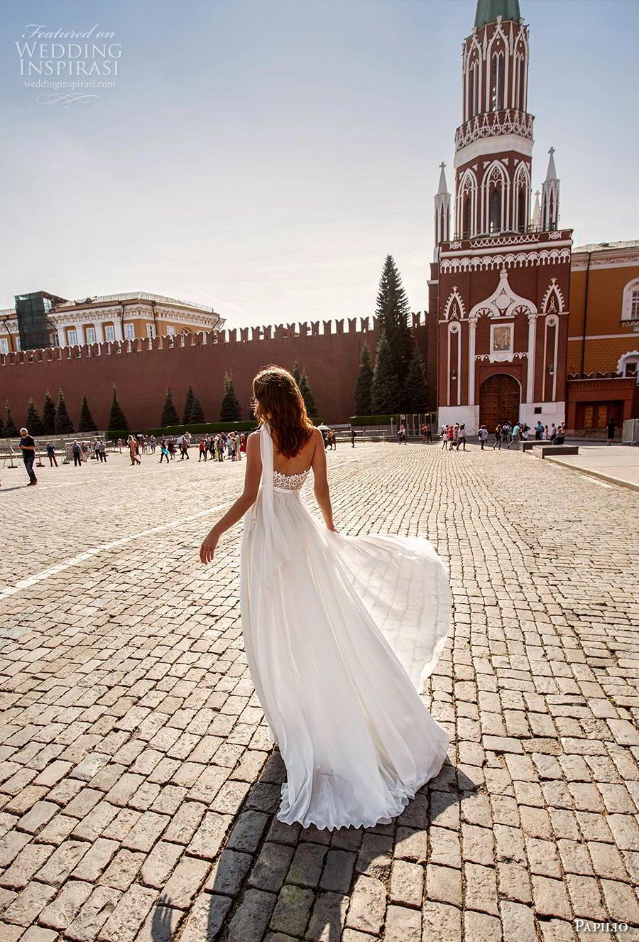 papilio 2019 bridal sleeveless halter neck sweetheart neckline full embellishment sexy body suit wedding dress a  line overskirt chapel train (7) bv