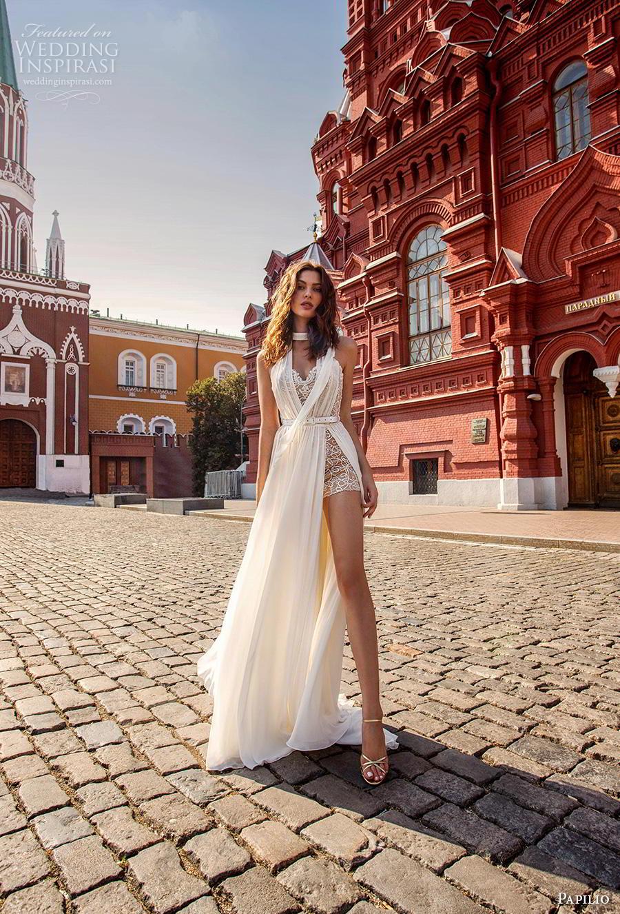 papilio 2019 bridal sleeveless halter neck sweetheart neckline full embellishment sexy body suit wedding dress a  line overskirt chapel train (7) mv