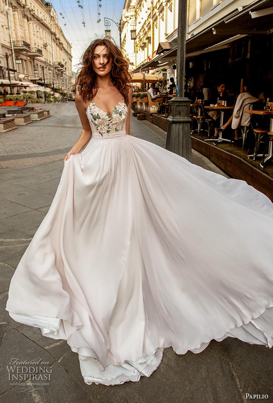 papilio 2019 bridal sleeveless spaghetti strap deep sweetheart neckline heavily embellished bodice romantic soft a  line wedding dress chapel train (4) mv