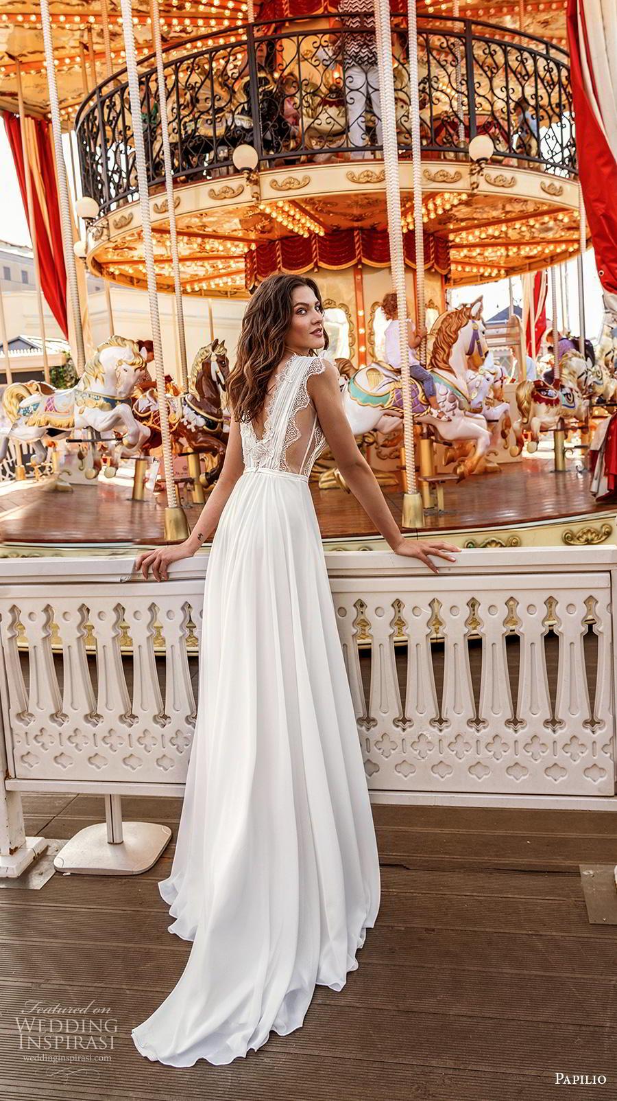 papilio 2019 bridal sleeveless with strap deep v neck lightly embellished ruched bodice romantic soft a  line wedding dress v back chapel train (7) bv