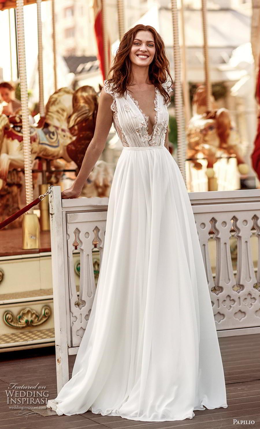 papilio 2019 bridal sleeveless with strap deep v neck lightly embellished ruched bodice romantic soft a  line wedding dress v back chapel train (7) mv