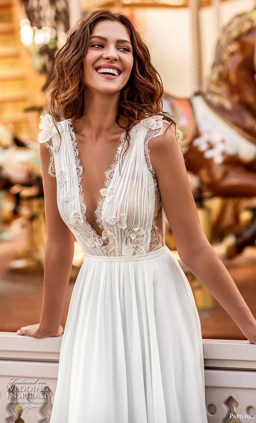 papilio 2019 bridal sleeveless with strap deep v neck lightly embellished ruched bodice romantic soft a  line wedding dress v back chapel train (7) zv