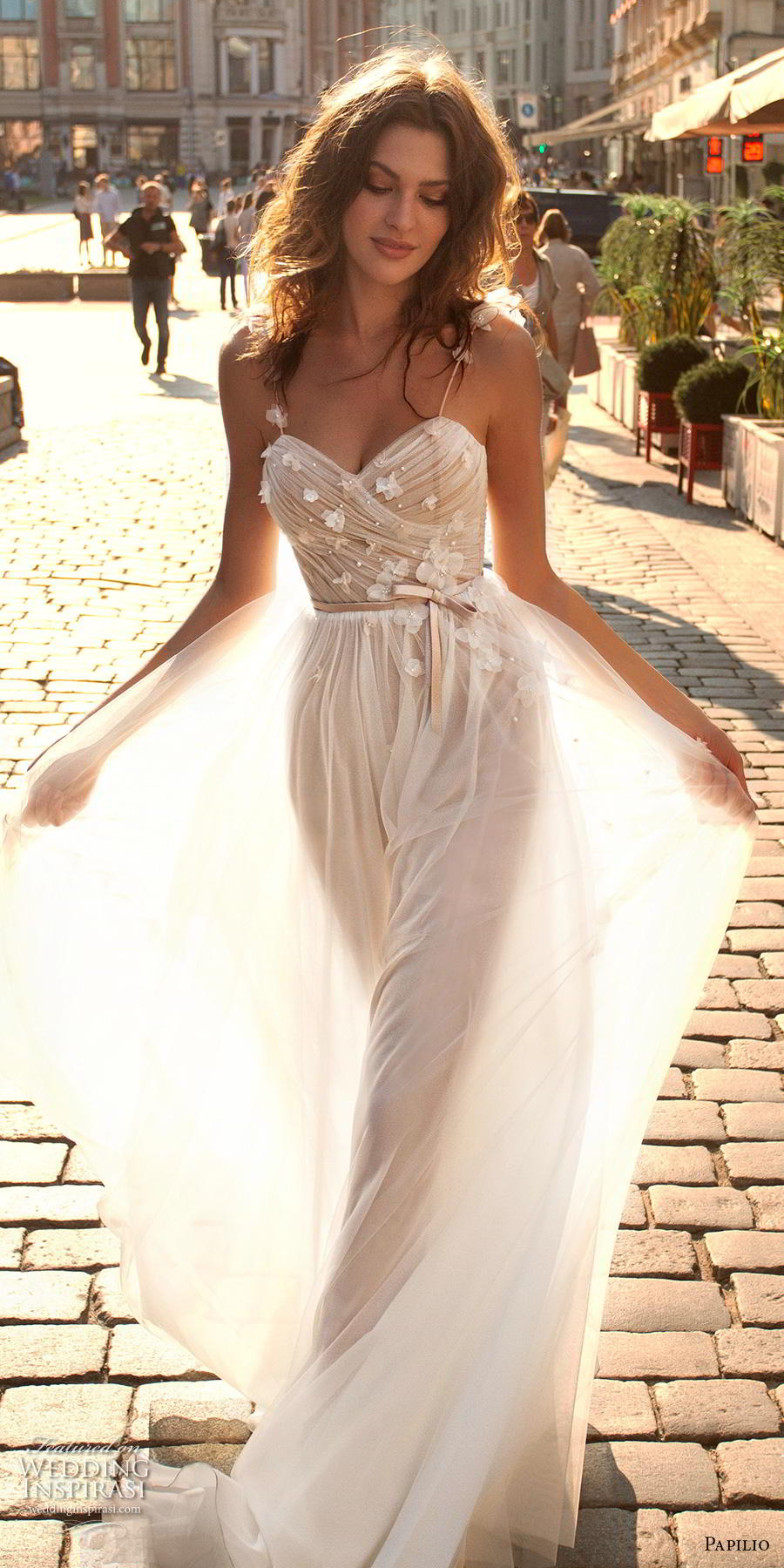 papilio 2019 bridal spaghetti strap sweetheart neckline lightly embellished wrap over ruched bodice romantic soft a  line wedding dress sweep train (5) lv