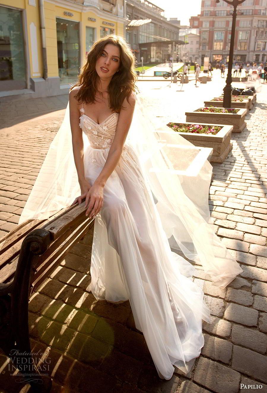 papilio 2019 bridal spaghetti strap sweetheart neckline lightly embellished wrap over ruched bodice romantic soft a  line wedding dress sweep train (5) mv