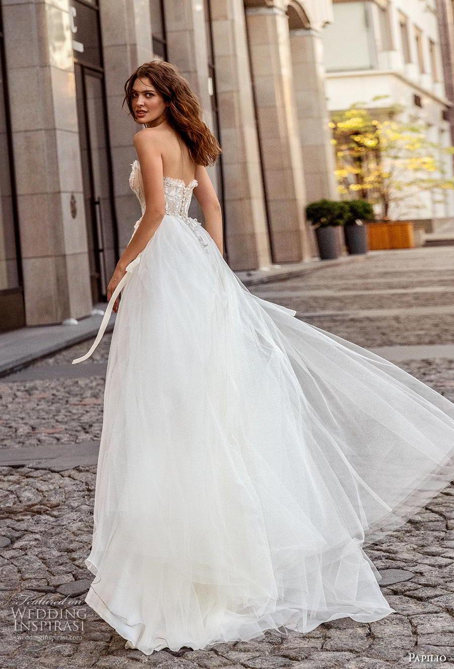 papilio 2019 bridal strapless sweetheart neckline heavily embellished bodice romantic soft a  line wedding dress mid back chapel train (3) bv