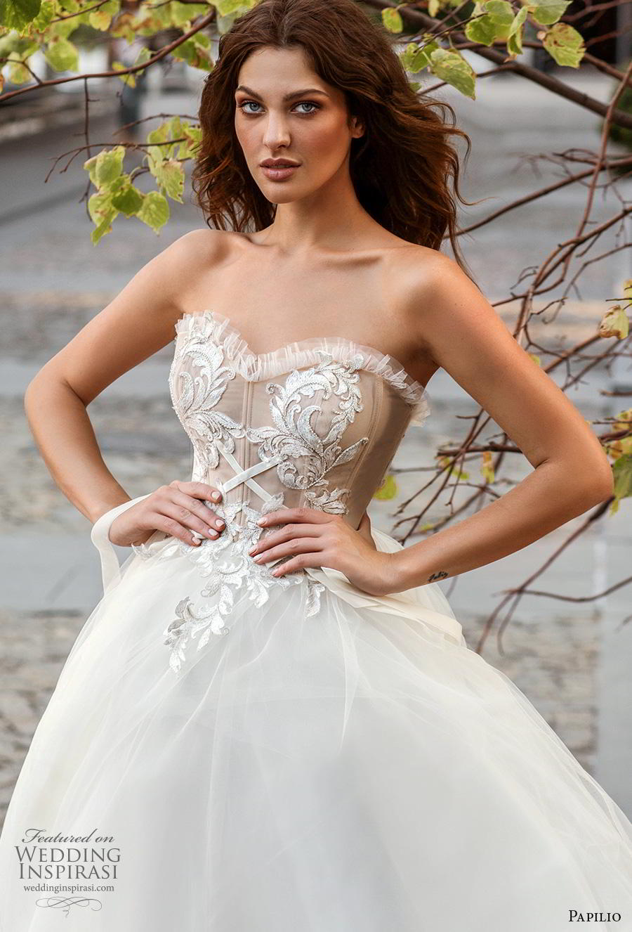 papilio 2019 bridal strapless sweetheart neckline heavily embellished bodice romantic soft a  line wedding dress mid back chapel train (3) zv