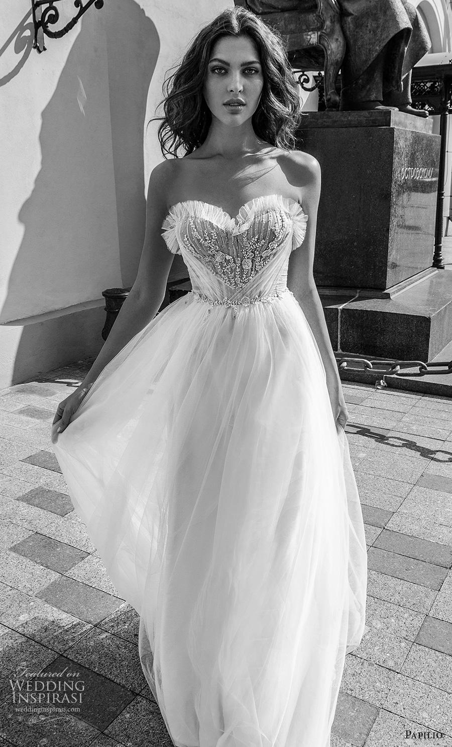 papilio 2019 bridal strapless sweetheart neckline heavily embellished bodice soft a  line wedding dress mid back chapel train (6) mv