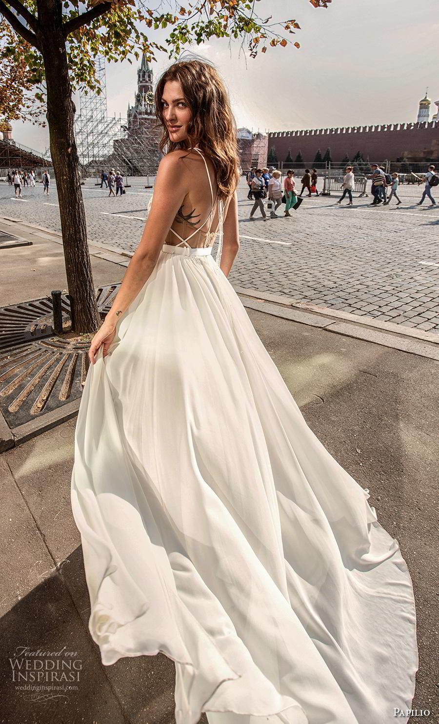 papilio 2019 bridal thin double strap deep v neck heavily embellished bodice slit skirt sexy modern a  line wedding dress backless strap back chapel train (2) bv