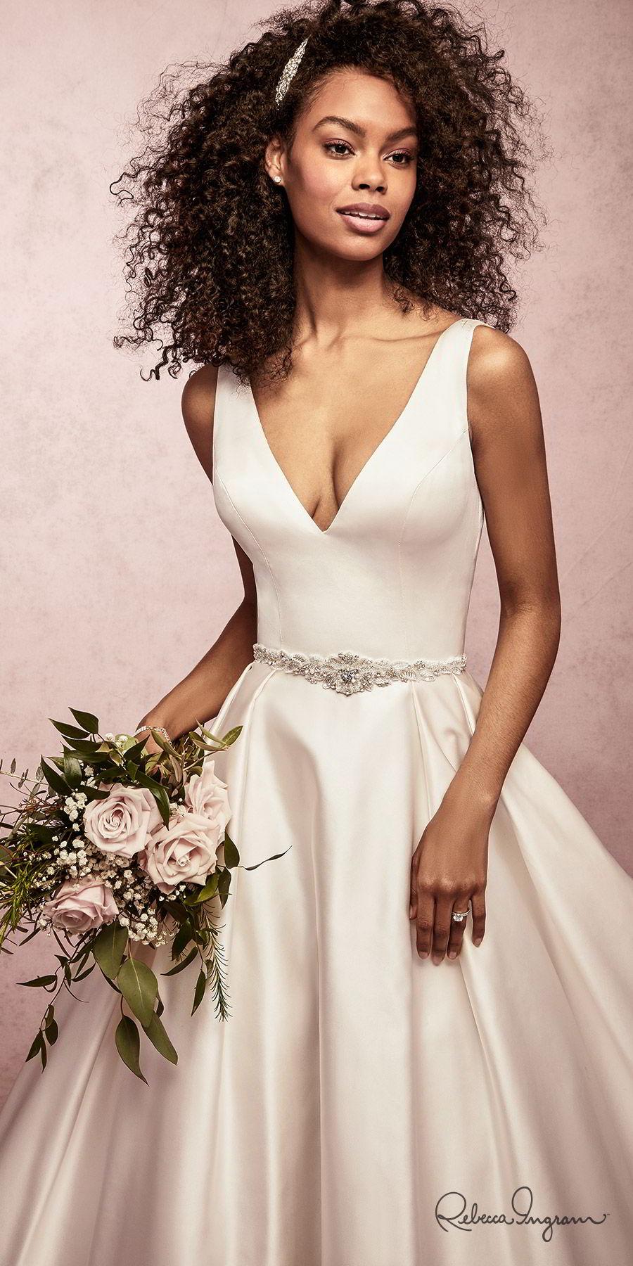 ec076e5868 rebecca ingram spring 2019 bridal sleeveless thick straps v neckline a line ball  gown simple wedding