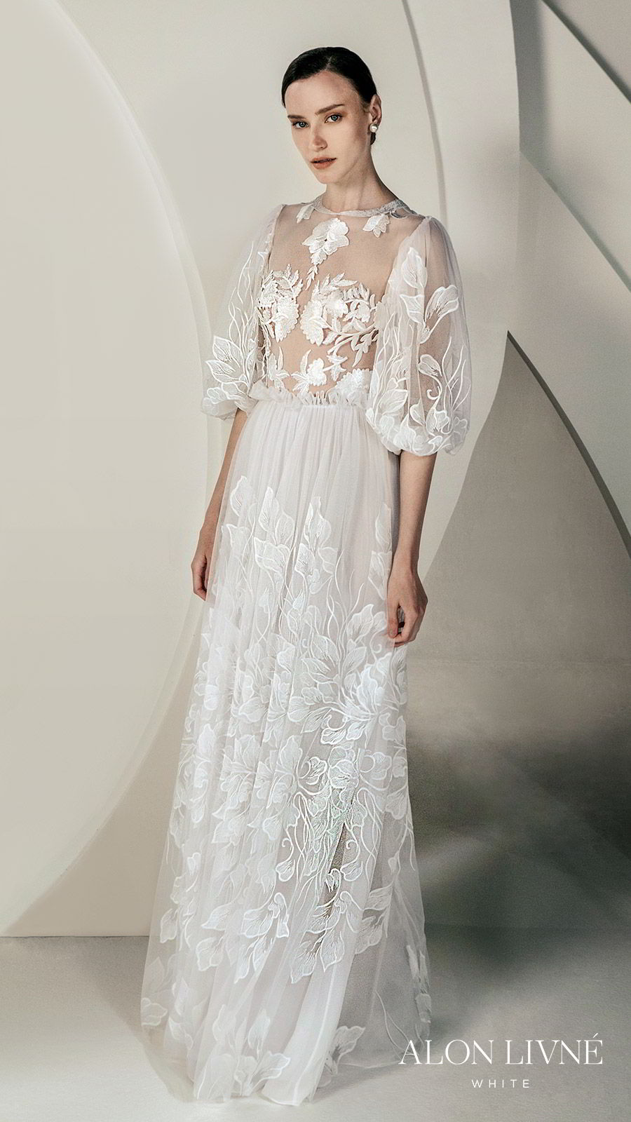 alon livne white spring 2020 bridal 3 quarter illusion puff sleeves jewel neckline sheer bodice fully embellished embroidered lace a line wedidng dress (glory) romantic bohemian mv