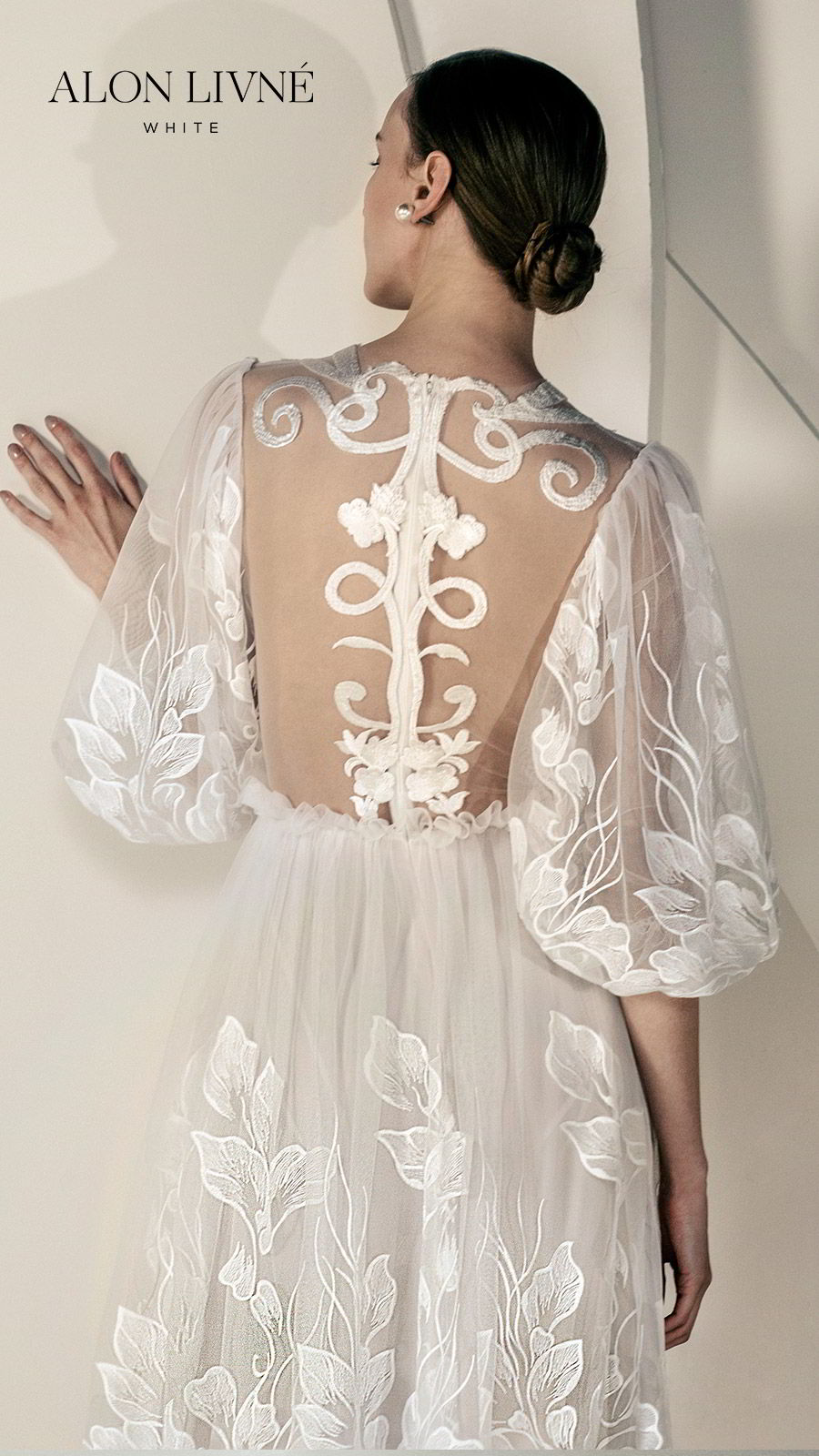 alon livne white spring 2020 bridal 3 quarter illusion puff sleeves jewel neckline sheer bodice fully embellished embroidered lace a line wedidng dress (glory) romantic bohemian zbv
