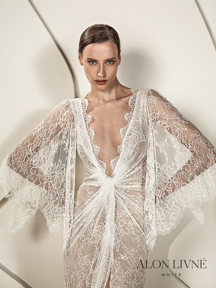 alon livne white spring 2020 bridal illusion 3 quarter flutter sleeves deep v neckline ruched bodice lace sheath kaftan wedding dress (kylie) slit skirt romantic boho chic fv