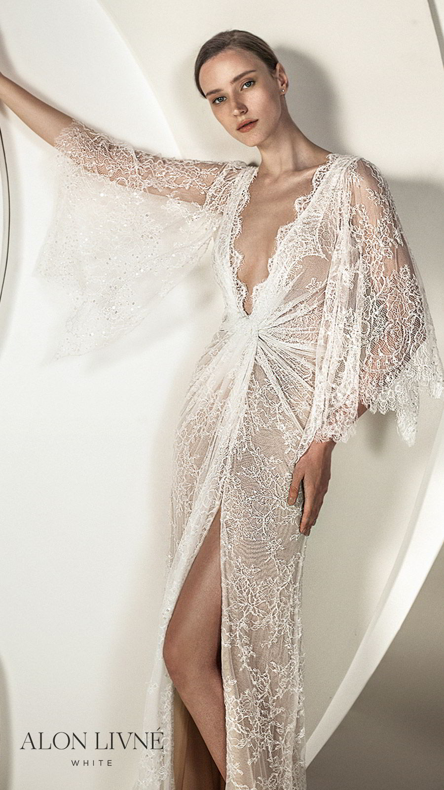 alon livne white spring 2020 bridal illusion 3 quarter flutter sleeves deep v neckline ruched bodice lace sheath kaftan wedding dress (kylie) slit skirt romantic boho chic mv