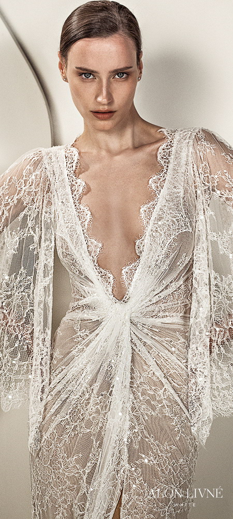 alon livne white spring 2020 bridal illusion 3 quarter flutter sleeves deep v neckline ruched bodice lace sheath kaftan wedding dress (kylie) slit skirt romantic boho chic zv