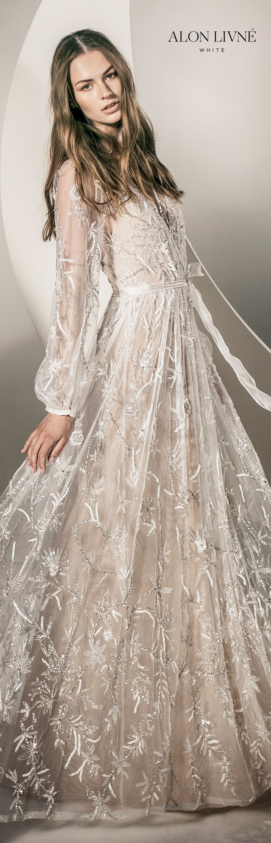 alon livne white spring 2020 bridal illusion long bishop sleeves surplice v neckline fully embellished a line lace wedding dress (natalie) romantic boho chic lv