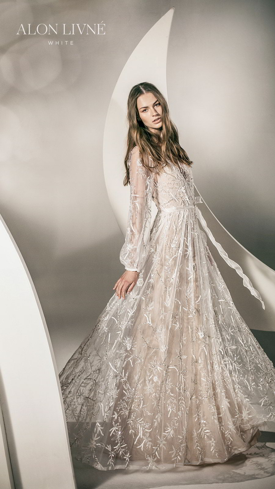 alon livne white spring 2020 bridal illusion long bishop sleeves surplice v neckline fully embellished a line lace wedding dress (natalie) romantic boho chic mv