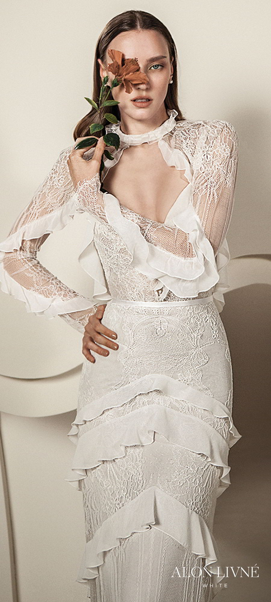 alon livne white spring 2020 bridal illusion long sleeves ruffle v neck column sheath lace wedding dress ruffle skirt (billie) romantic boho chic mv