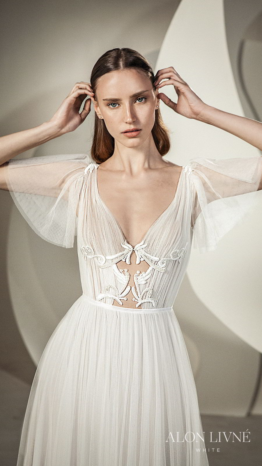 alon livne white spring 2020 bridal illusion short flutter sleeves deep v neckline cutout ruched bodice a line ball gown wedding dress (shane) romantic boho chic mv
