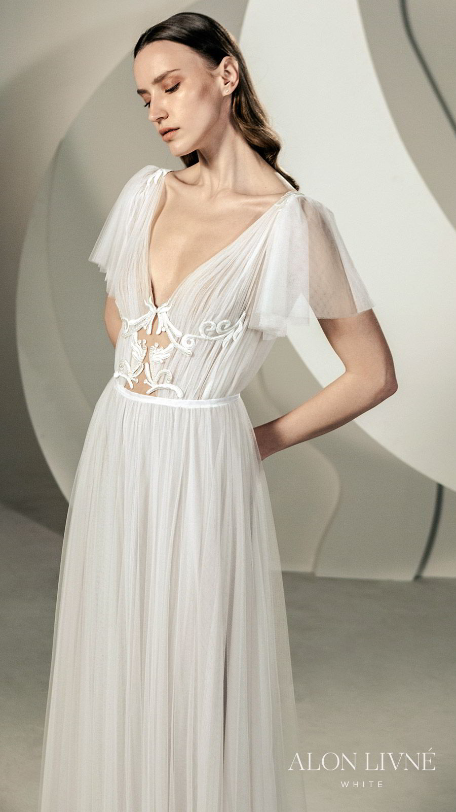 alon livne white spring 2020 bridal illusion short flutter sleeves deep v neckline cutout ruched bodice a line ball gown wedding dress (shane) romantic boho chic sv