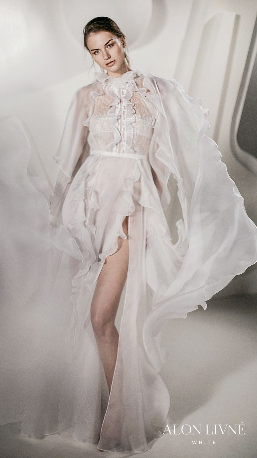 alon livne white spring 2020 bridal long sleeve ruffle high neck sheer bodice a line wedding dress slit skirt  (dylan with jacket) boho romantic mv