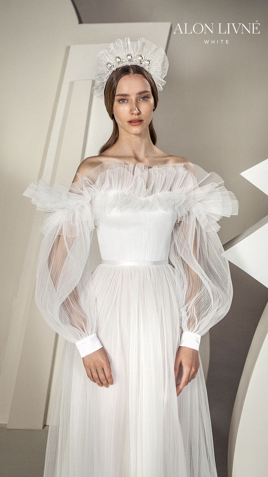 alon livne white spring 2020 bridal off shoulder illusion long bishop sleeves semi sweetheart ruffle neckline ruched bodice a line ball gown wedding dress (claudia) romantic boho modern mv