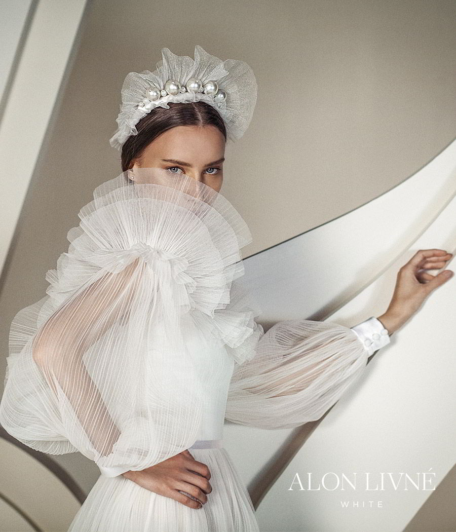 alon livne white spring 2020 bridal off shoulder illusion long bishop sleeves semi sweetheart ruffle neckline ruched bodice a line ball gown wedding dress (dylan) romantic boho modern sv