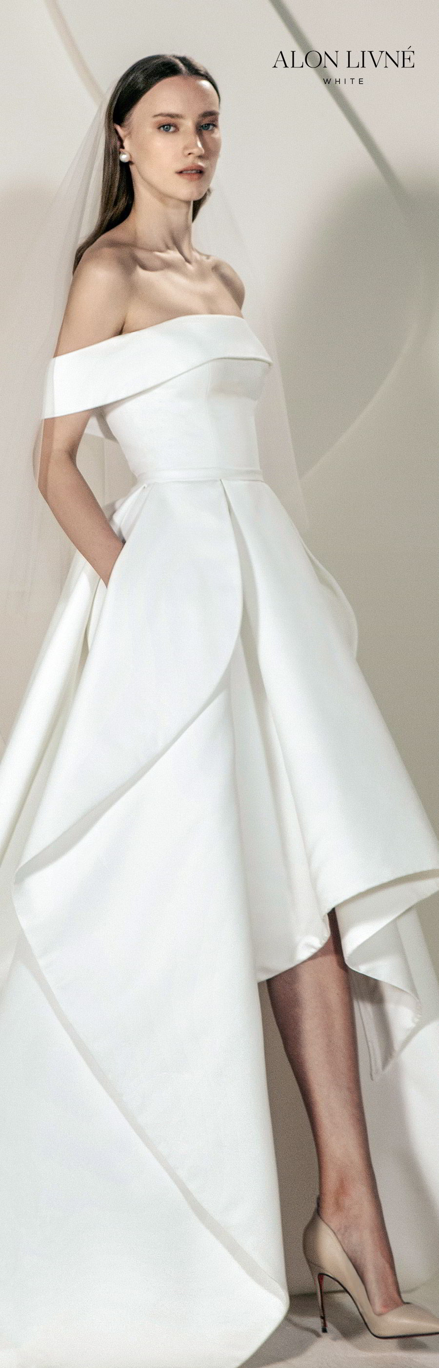 alon livne white spring 2020 bridal off shoulder straight across neckline foldover ball gown a line simple wedding dress high low skirt pocket (erica) clean minimal modern chic lv