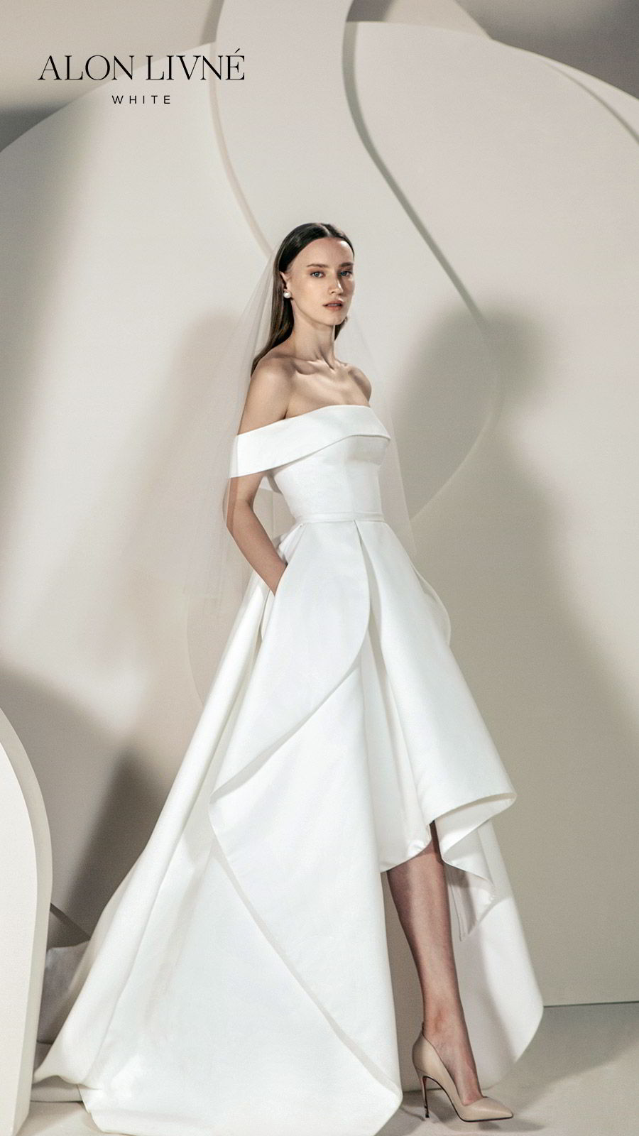alon livne white spring 2020 bridal off shoulder straight across neckline foldover ball gown a line simple wedding dress high low skirt pocket (erica) clean minimal modern chic mv