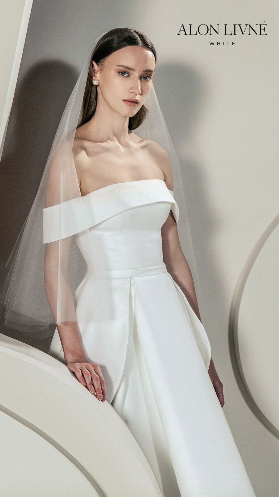 alon livne white spring 2020 bridal off shoulder straight across neckline foldover ball gown a line simple wedding dress high low skirt pocket (erica) clean minimal modern chic zv