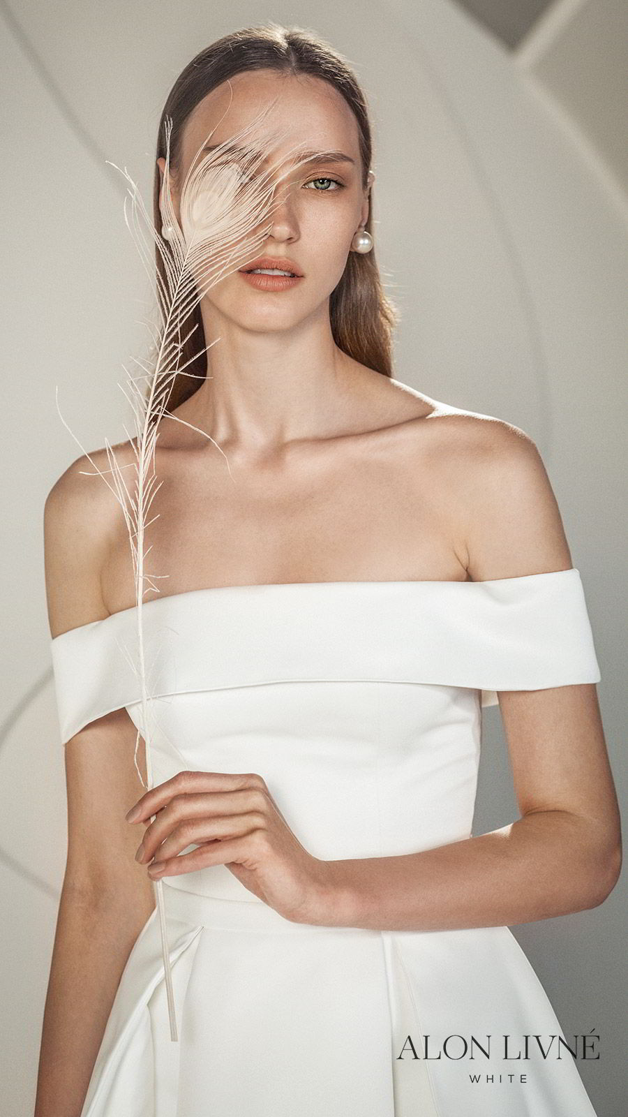 alon livne white spring 2020 bridal off shoulder straight across neckline foldover ball gown a line simple wedding dress shannon) clean minimal modern chic zv
