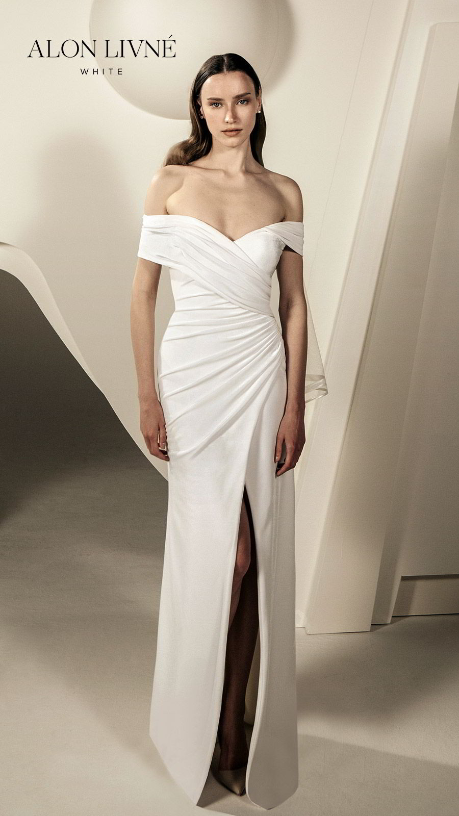alon livne white spring 2020 bridal off shoulder sweetheart wrap neckline ruched bodice sheath column simple wedding dress slit skirt (caitlin) elegant clean minimalist fv