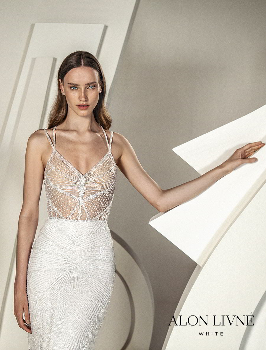 alon livne white spring 2020 bridal sleeveless double straps v neck sheer bodice fully embellished sheath wedding dress (hera) glamorous glitzy mv