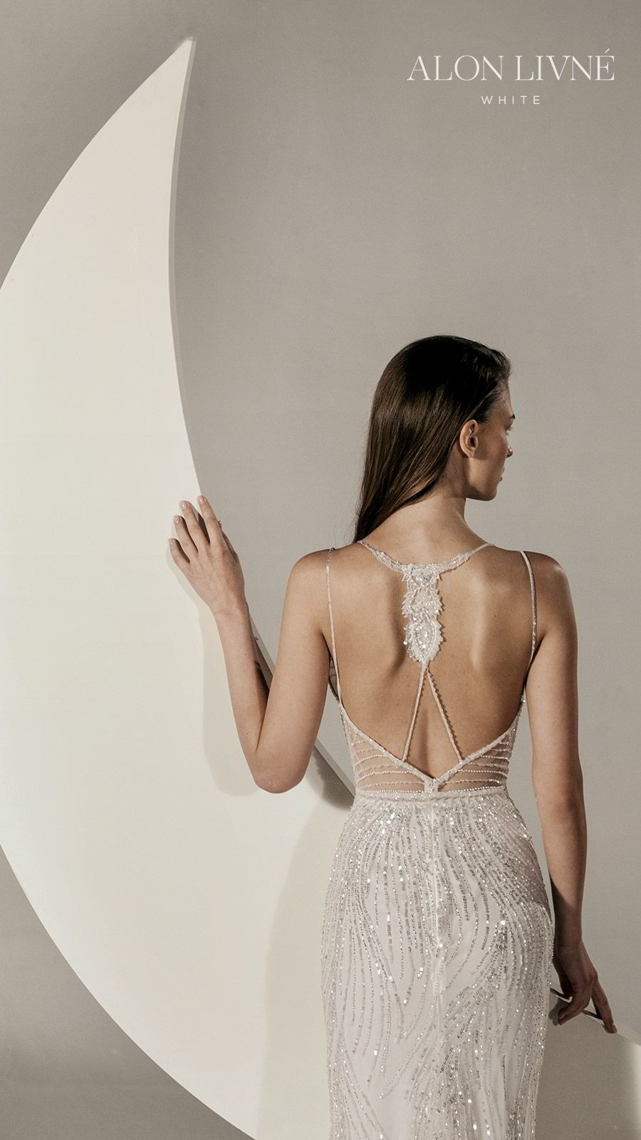 alon livne white spring 2020 bridal sleeveless thin straps fully embellished sheath wedding dress (gia) open back glamorous elegant bv