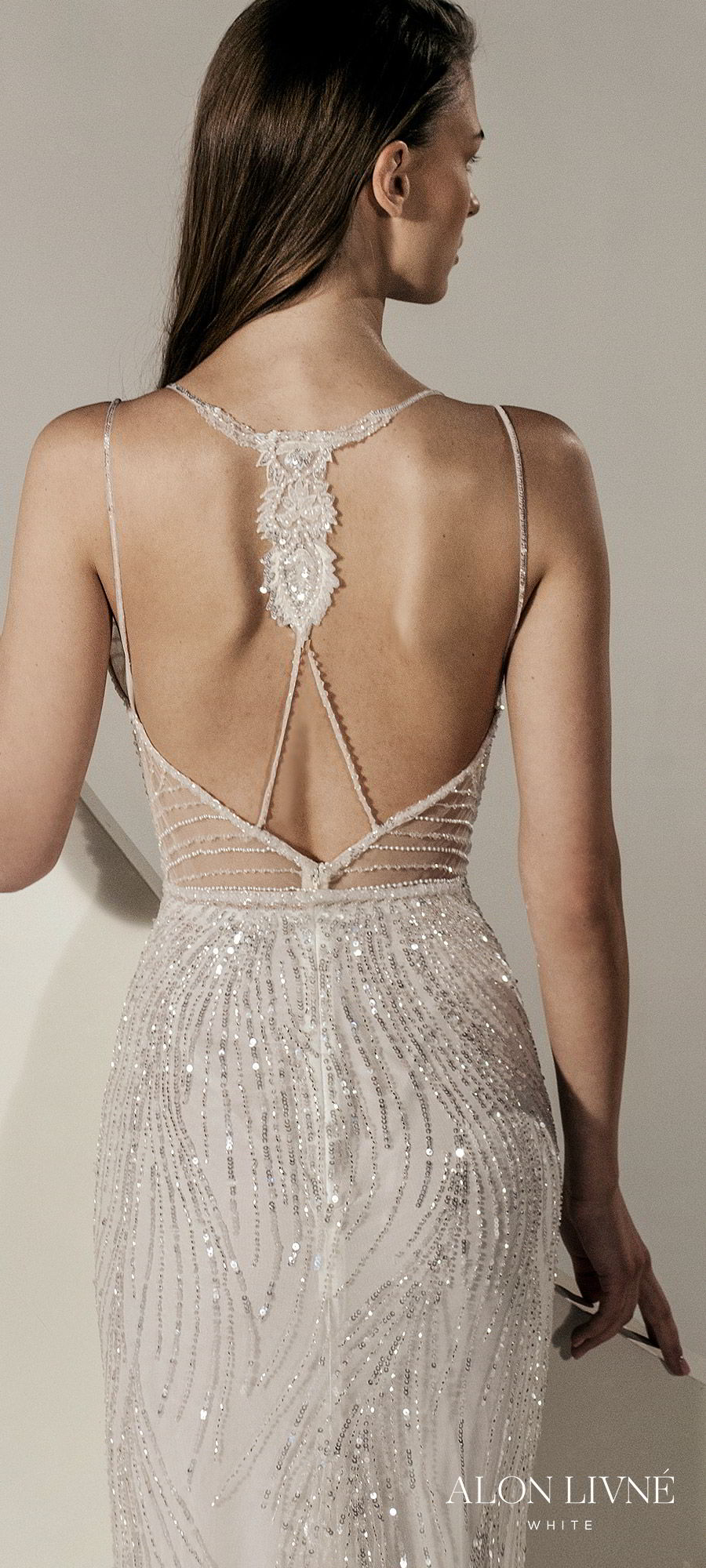 alon livne white spring 2020 bridal sleeveless thin straps fully embellished sheath wedding dress (gia) open back glamorous elegant zbv