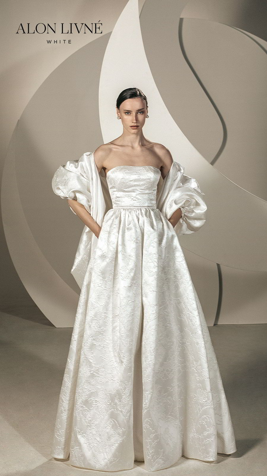 alon livne white spring 2020 bridal strapless straight across a line ball gown embellished simple wedding dress jacket (brenda) elegant modern mv