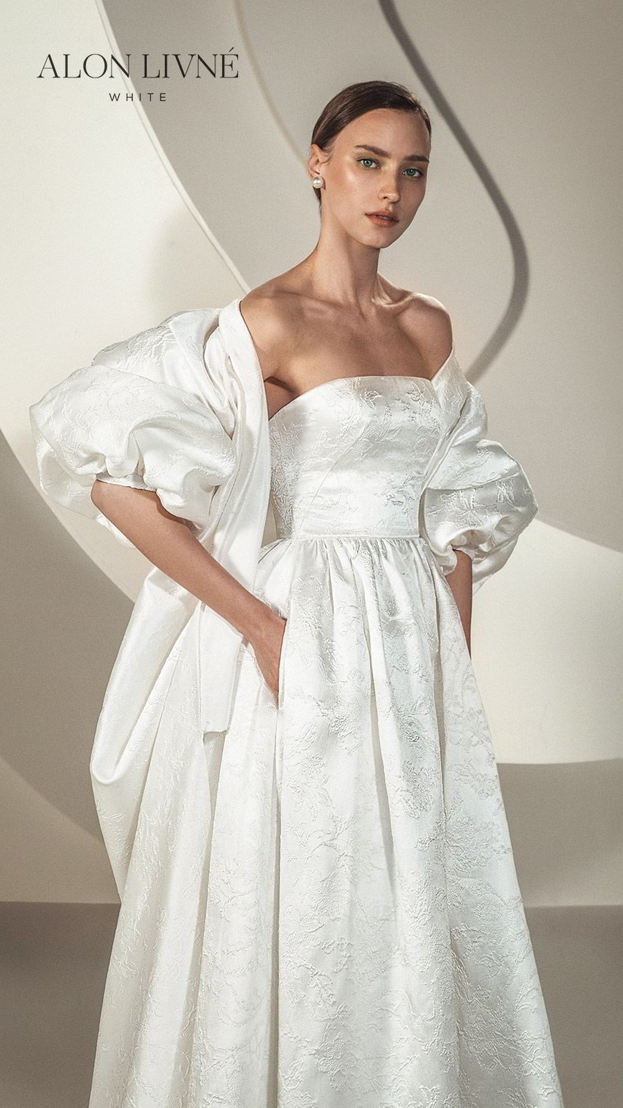 alon livne white spring 2020 bridal strapless straight across a line ball gown embellished simple wedding dress jacket (brenda) elegant modern zv