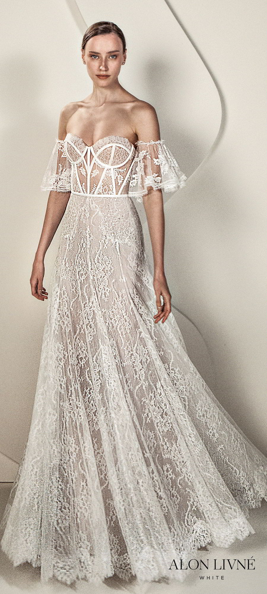 alon livne white spring 2020 bridal strapless sweetheart detached sheer flutter sleeves illusion bodice modified a line fit flare lace wedding dress (eve) romantic boho chic mv