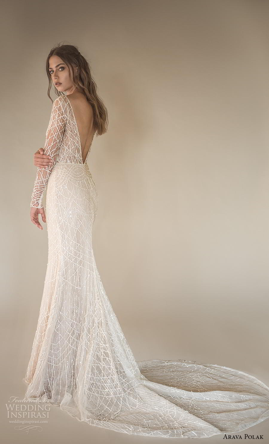 arava polak 2019 bridal long sleeves deep v neck full embellishment sexy glamorous sheath wedding dress backless low v back chapel train (11) bv