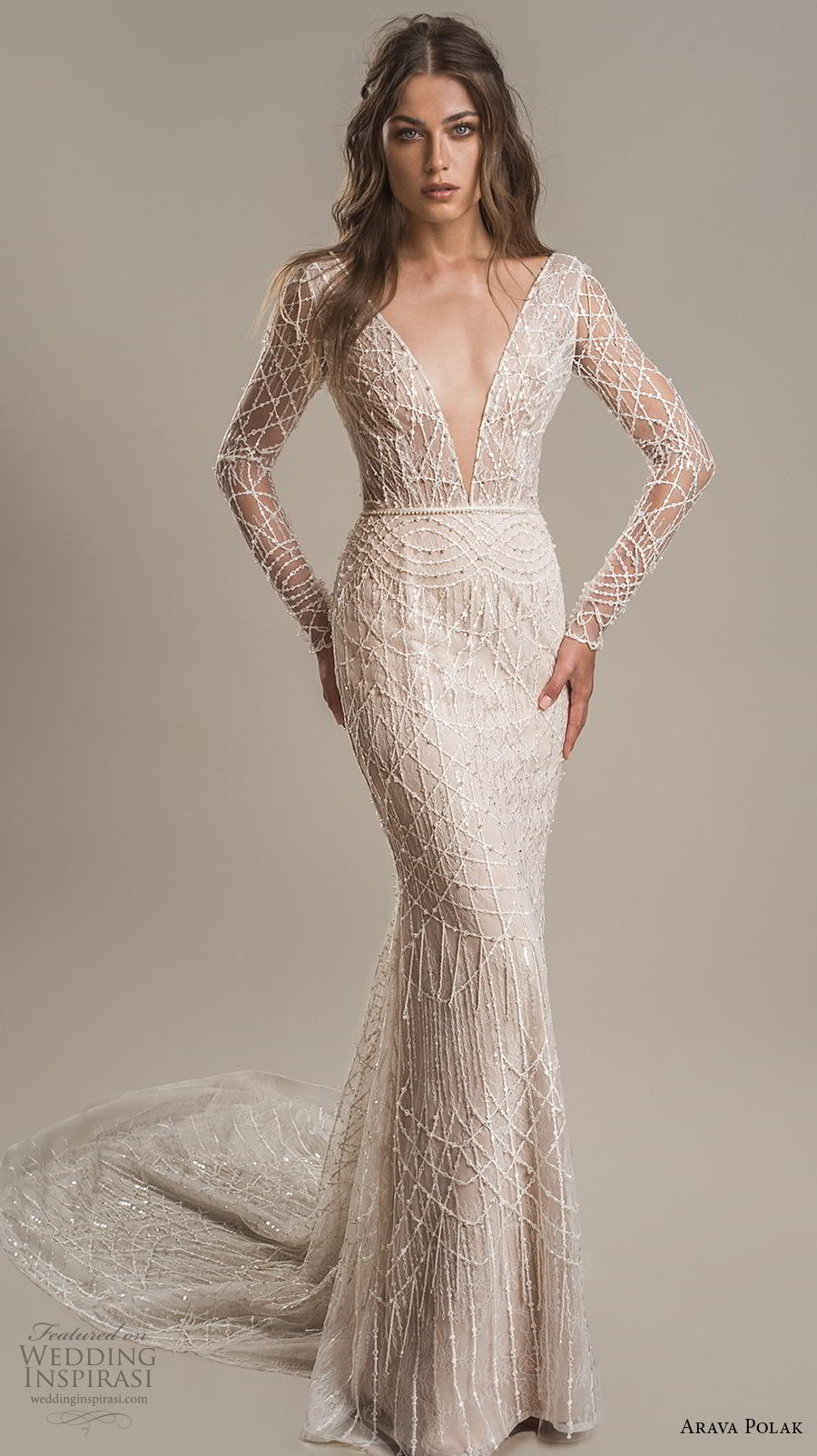 arava polak 2019 bridal long sleeves deep v neck full embellishment sexy glamorous sheath wedding dress backless low v back chapel train (11) mv